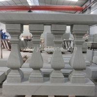Balcony Handrail Natural White Sandstone Balustrade Railing For Security