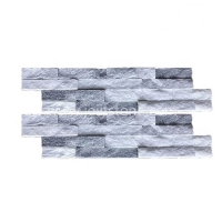 JSCS1036-05 Slim Strips Cloudy Grey Quartz Cultured Stone Veneer For Wall Cladding