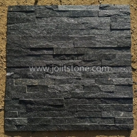 JSCS1560-18 Best Quality Black Nero Quartzite Culture Stone Panel Decorative Stone Wall Panels for fireplace