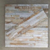 JSCS1560-18 Golden Wood Grain Decorative Natural Stone Wall Panel For TV