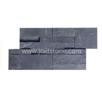 JSCS1835-01 Flat Black Slate Stone Wall Cladding Interior