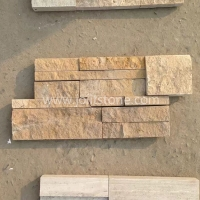 JSCS1835-08 Yellow Beige Travertine Culture Stone Ledgestone For Fireplace