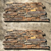 JSCS2060-02 Dry Stack Natural Rustic Slate Stone Panels Wall Siding Panels