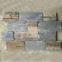 JSCS2060-12 Manufacturer of Natural Black Rustic Slate Stacked Panel Wall Veneers