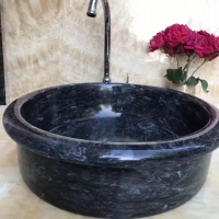 SS003 Hand Made Beautiful Natural Stone Black Marble Basin