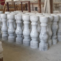 White Marble With Veins Entrance Baluster Column