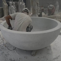 BT002 White Marble Stone Soaking Tub