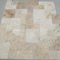 TT001 Antiqued Chiseled Edge Coffee Travertine French Pattern