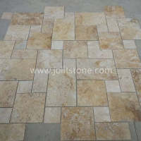 TT002 Gloden Yellow Antiqued Travertine For Interior and Exterior Floor