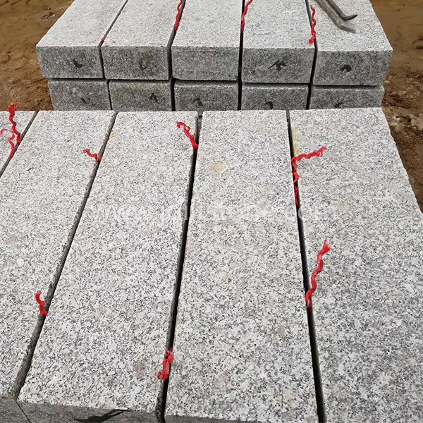 KS004 Grey Granite Flamed Kerb Stone For Garden