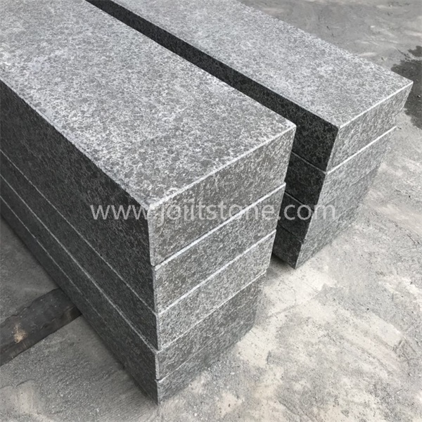 KS005 All Sides Flamed Kerb Stone G684 Black Basalt With Bevel Edge