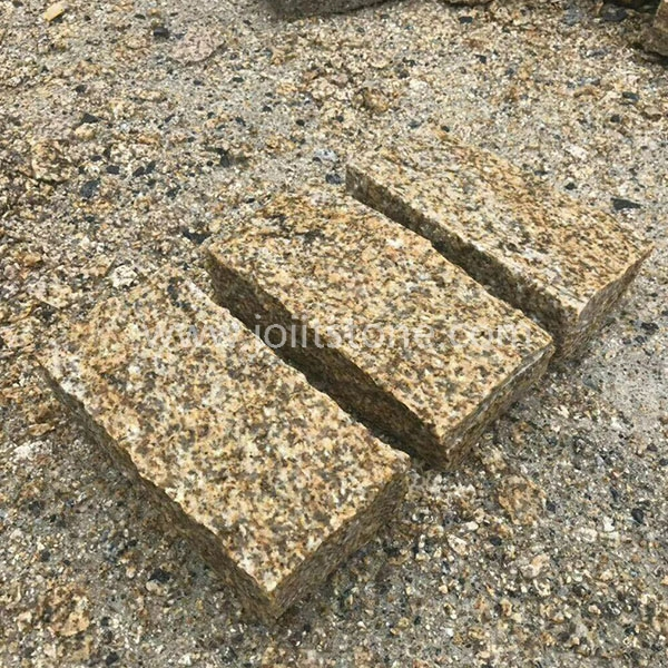 KS008 All Sides Split Yellow Granite Kerb Stone For Garden
