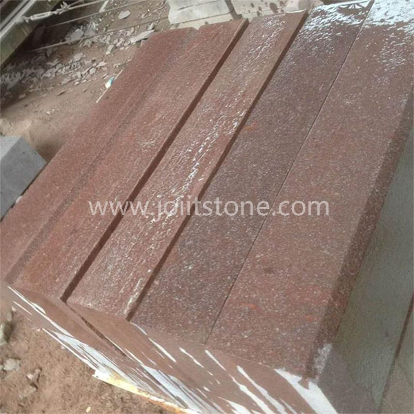 KS010 Flamed Red Porphyry Kerbs Porfido Kerbstone