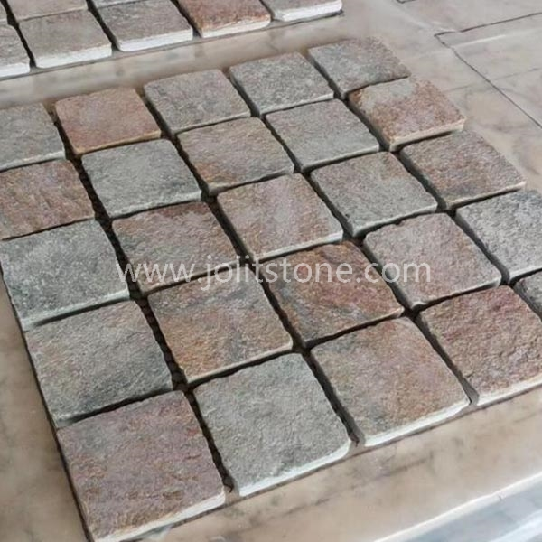 MS050 Flamed Golden Quartzite Square Meshed Paving Stone