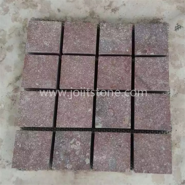 MS056 Flamed Red Porphyry Mesh Back Paving Stone For Floor