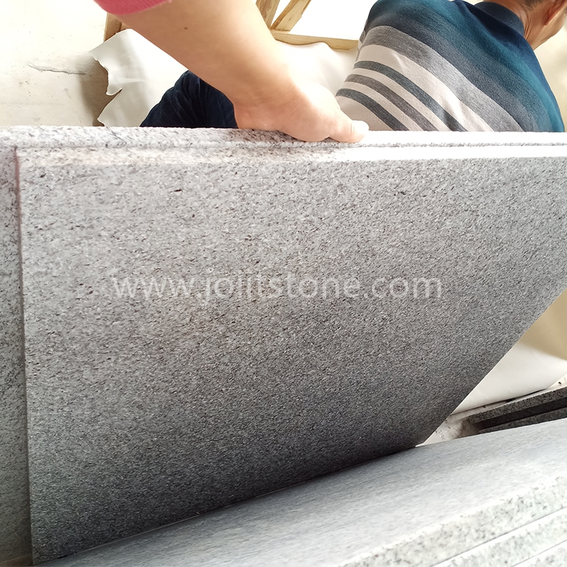 STT001 Customizd G603 Granite Tops For Garden ( Flamed on surface, four sides straight edge+flamed)