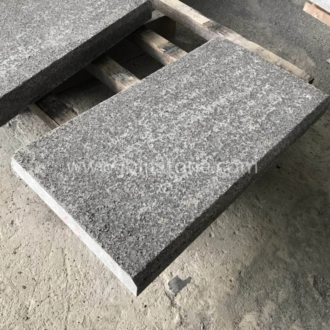 TR013 G684 Black Granite Flamed Steps With Straight and Beveled Edge
