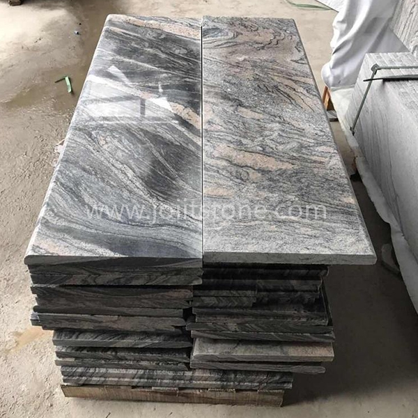 TR016 Polished G261 Juparana Grey Granite Bullnose Stairs
