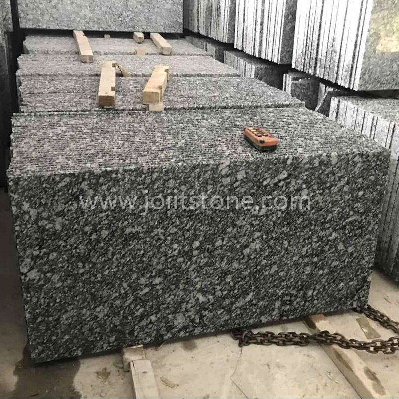 TR018 Polished Spray White Granite Steps ( Two Long Sides Bullnose Edges)