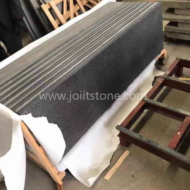 TR024 Absolutely Black Granite 45 Degree Laminated Straight Edge Steps