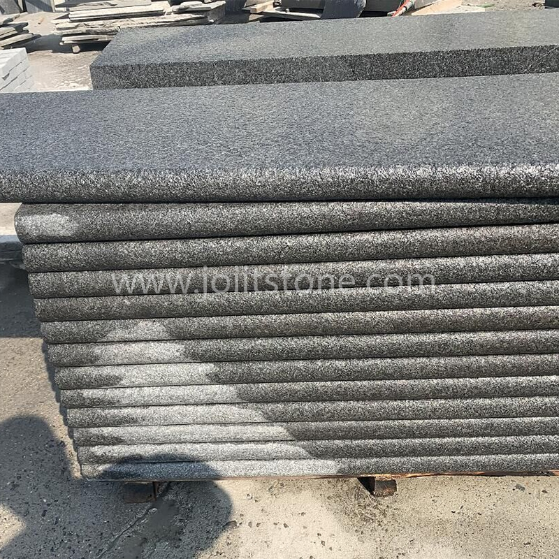 TR006 Flamed Bullnose Edge Black Granite Steps with Anti-Slip Effect