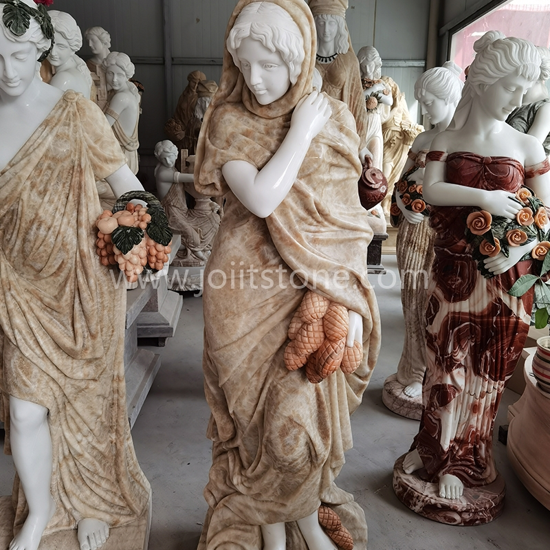 PS001 Outdoor Garden Decoration Natural Stone White Marble Four Season Lady Sculpture