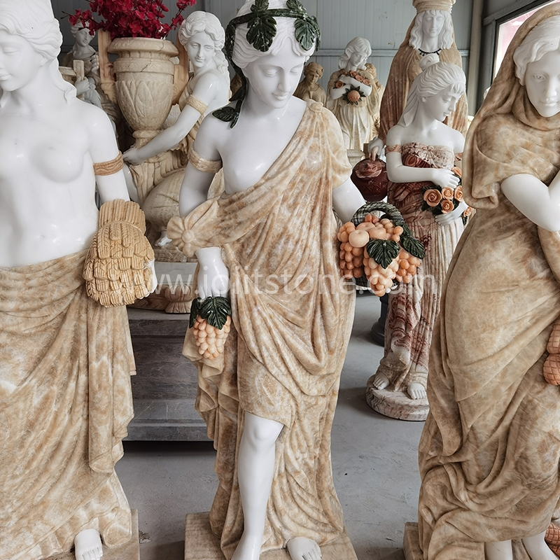 PS002 Hand Carved Multi Color Four Season Women Marble Statues With Flowers For Star Hotel Corners