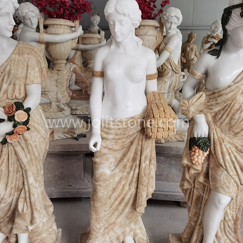 PS005 Fine Craft Marble Four Seasons Elegant Lady Statue Sculpture for Garden Decoration
