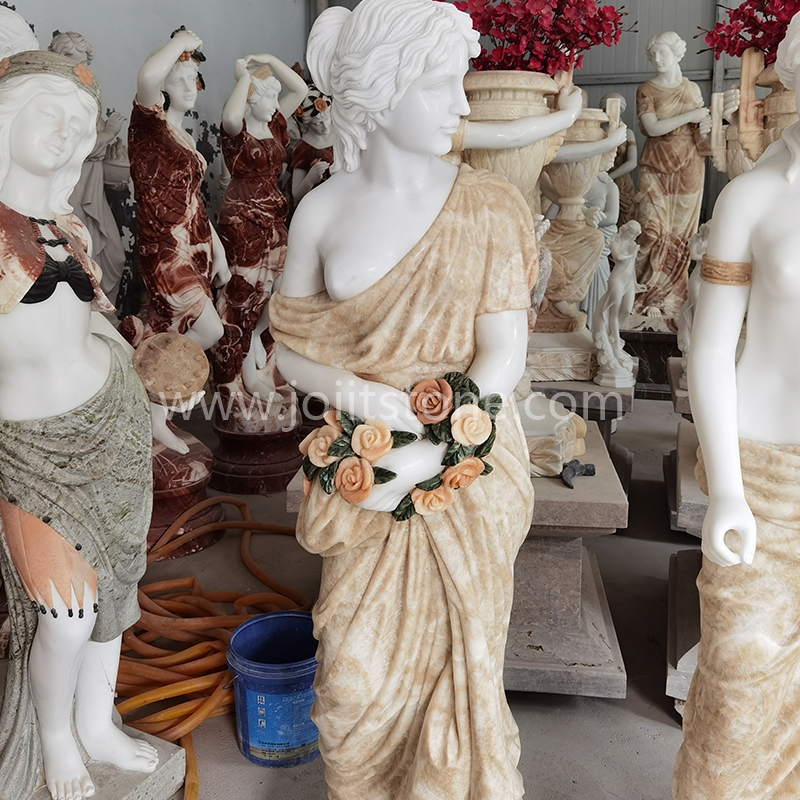 PS004 Natural Stone White And Red Status Polished Lady Sculpture Statues Marble