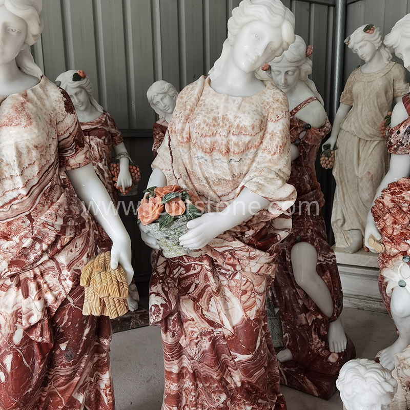 Elegant Stone Carved Luxury Home Decoration Life Size Greek Four Seasons Marble Statues Sculpture
