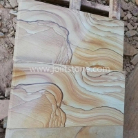 SST001 Yellow Sandstone Wave Vein Cut To Size Decoration Wall