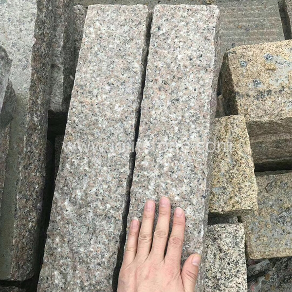 KS006 All Sides Split Pink Color Granite Kerbstone For Outdoor Fence