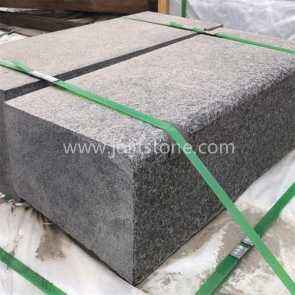 KS013 Wholesale Natural Flamed Black Granite Curved Kerb Stone